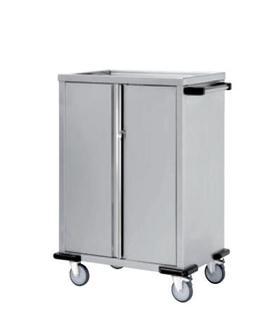 Carrello rifornimento frigobar in acciaio inox 18/10 AISI 304 - 2 ante battenti con chiusura a chiave, 4 piani - cm 80x55x135h