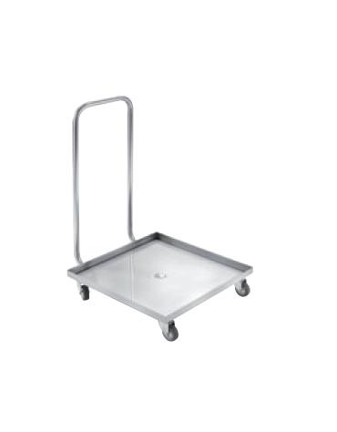 Carrello portacestelli lavastoviglie inox 18/10 AISI 304 - maniglione di spinta - 4 ruote piroettanti - cm 52x58x80h