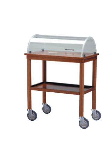 Carrello di servizio in legno massello color noce con cupola in plexiglass - 2 ripiani cm 80x45 - cm 80x45x105h