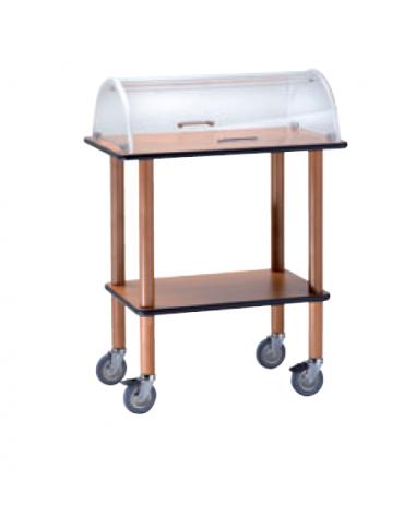Carrello di servizio in legno massello di faggio evaporato, con cupola in plexiglass - 2 ripiani cm 70x45 - cm 70x45x105h