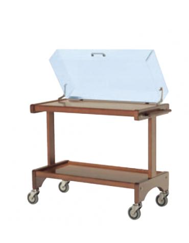 Carrello di servizio in legno di faggio evaporato con cupola in plexiglass - 2 ripiani cm 87x45 - cm  105x48x95h