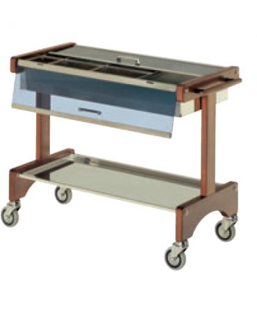Carrello portaposate in legno massello di faggio evaporato - coperchio in plexiglass - 2 piani cm 87x45 - cm cm 105x48x85h