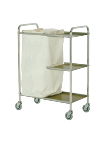 Carrello portabiancheria in acciaio inox 18/10 AISI 304 - 3 ripiani in laminato plastico - 1 sacco in tela - cm 76x40x104h