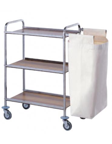 Carrello portabiancheria in acciaio inox 18/10 AISI 304 - 3 ripiani in laminato plastico - 1 sacco in tela - cm 80x40x104h
