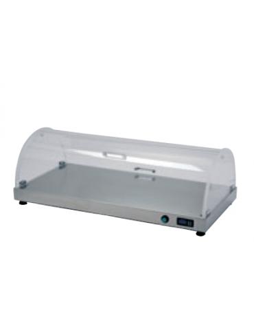 Piano caldo in acciaio inox 18/10 AISI 304 con cupola tonda in plexiglass - potenza: 450W - cm 90x50x30h