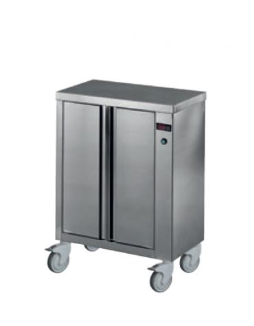 Mobiletto scaldapiatti in acciaio inox 18/10 AISI 304 - capacità 100 piatti da Ø 320 mm - mm 520x390x910h