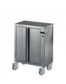 Mobiletto scaldapiatti in acciaio inox 18/10 AISI 304 - 2 ante - capacità 150/200 piatti da Ø 320 mm - mm 820x390x910h