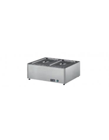 Tavola calda bagnomaria inox 18/10 AISI 304 con rubinetto di scarico - (GN ESCLUSE) - 2 GN 1/1 h 150 mm - mm 700x580x300h