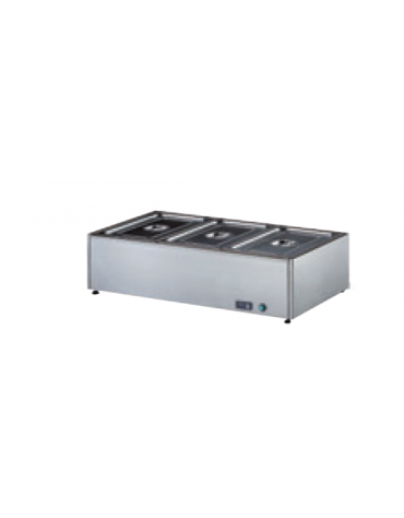 Tavola calda bagnomaria inox 18/10 AISI 304 con rubinetto di scarico - (GN ESCLUSE) - 3 GN 1/1 h 150 mm - mm 1050x580x300h