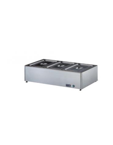 Tavola calda bagnomaria inox 18/10 AISI 304 con rubinetto di scarico - (GN ESCLUSE) - 3 GN 1/2 h 150 mm - mm 900x430x300h