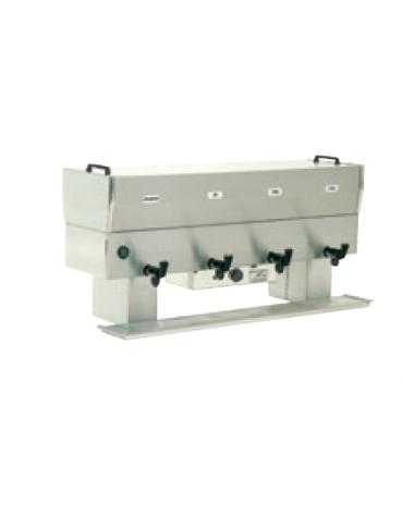 Distributore prima colazione con 3 pentole da 10 litri in acciaio inossidabile 18/10 - 2000W - cm 92x42x60h