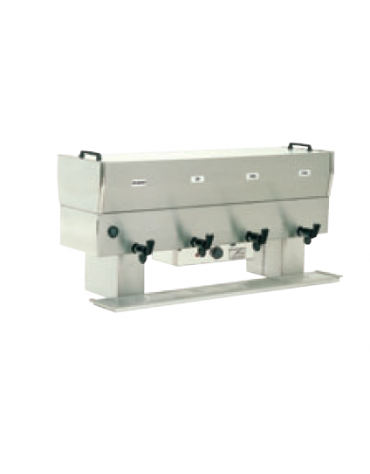 Distributore prima colazione con 4 pentole da 10 litri in acciaio inossidabile 18/10 - 2000W - cm 118x42x60h