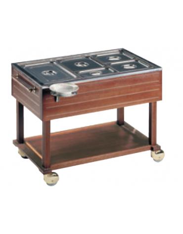 Carrello termico in legno massello - 2000W - 3 GN 1/1 h 150 mm (50-60 piatti) - mm 1200x640x900h