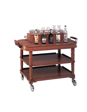 Carrello porta liquori in legno massello con alzata e barriera di protezione in tondo inox lucido - mm 300x650x1180h