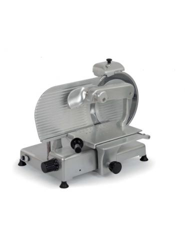 Affettatrice verticale in lega di alluminio anodizzato per salumi - affilatoio fisso - lama Ø 300 mm - mm 650x492x485h