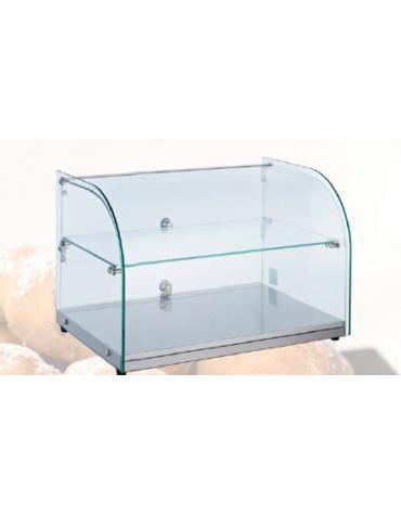 Vetrina neutra con basamento in acciaio inox - corpo in vetro - capacità: 45 Lt - mm 554x376x370h