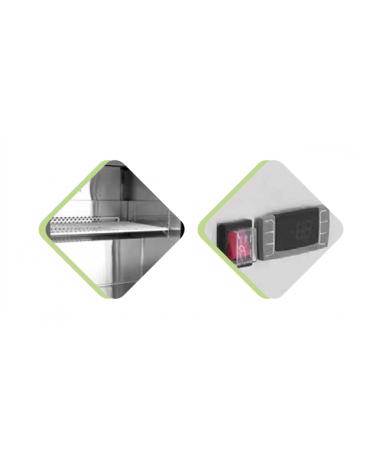 Armadio refrigerato mini in acciaio inox - 1 porta in vetro - 145 litri - +2°C/+8°C - mm 605x661x815h