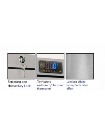 Armadio frigorifero in lamiera preverniciata RAL 9006 - capacità 140 Lt., temperatura  0°+8°C - mm L x P x H: 610 x 572 x 870h