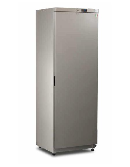 Armadio frigorifero in lamiera preverniciata RAL 9006 - capacità 376 Lt., temperatura  2°+8°C - mm L x P x H: 610 x 632 x 1885h