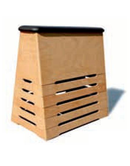 Plinto graduabile a cassoni in legno ricoperto in cuoio naturale