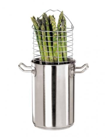 Pentola cuociasparagi inox-allumino 2 maniglie tubolari con coperchio -  Ø cm 16 -  h cm 24 - Litri 4,8