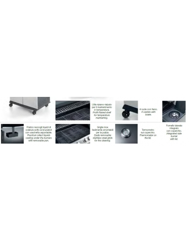 BARBEQUE A GAS 3 ZONE - MM 1222X515X1140H