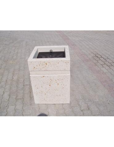 Ceneriera Quadrata in cemento - COLORE BIANCO TRAVERTINO - CM 50X50X70H