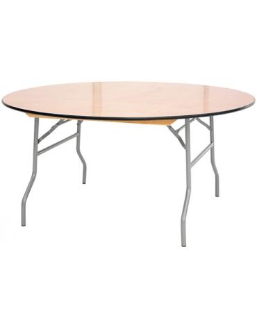 Tavolo rotondo pieghevole in legno Diametro cm. 122 x76h