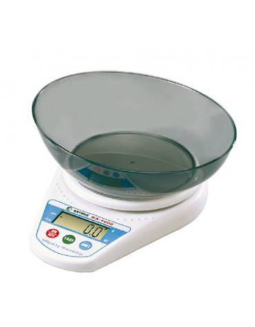 Bilancia digitale - Portata 1 Kg - dimensioni piattaforma cm Ø 13 - scala 0,5 g.
