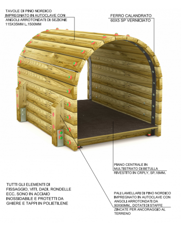 Tunnel con listoni di legno di pino nordico massello con 04 pali di sostegno in pino nordico - cm 97x200x102h