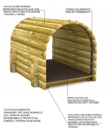 Tunnel con listoni di legno di pino nordico massello con 04 pali di sostegno in pino nordico - cm 97x150x102h