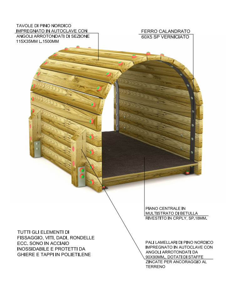 Tunnel con listoni di legno di pino nordico massello con 04 pali di ...