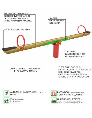 Bilico con seggiolini 2 posti con trave in lamellare di pino nordico - cm 306x30x77h