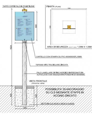 Palo con tabella di partenza in pino nordico impregnato in autoclave completo di tabella in forex  - cm 9x9x162h