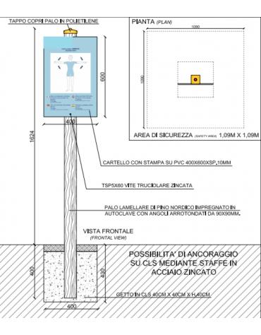 Palo con tabella movimento braccia in pino nordico impregnato in autoclave completo di tabella in forex  - cm 9x9x162h