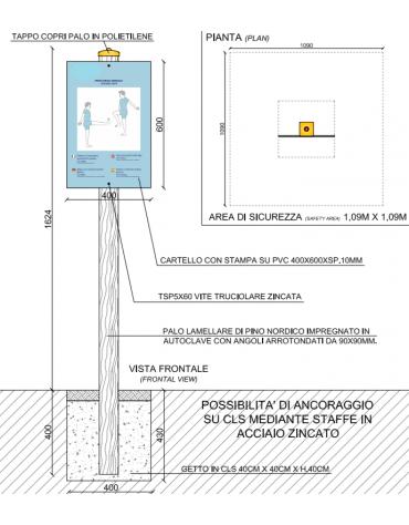 Palo con tabella movimento gambe 1 in pino nordico impregnato in autoclave completo di tabella in forex  - cm 9x9x162h