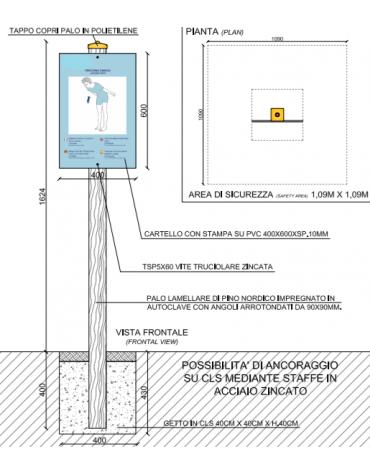Palo con tabella flessione tronco in pino nordico impregnato in autoclave completo di tabella in forex  - cm 9x9x162h