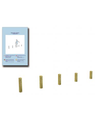 Paletti verticali per esercizi ginnici con pali in legno lamellare e calotta in plastica - cm 409x9x60h