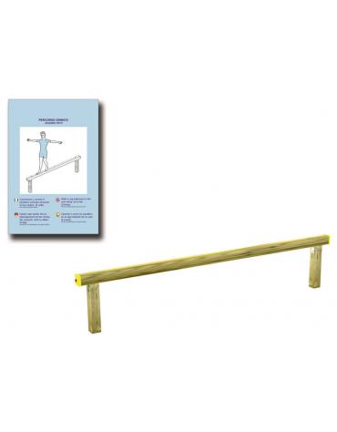 Asse per esercizi di camminamento in equilibrio con pali in legno lamellare e calotta in plastica - cm 305x10x59h