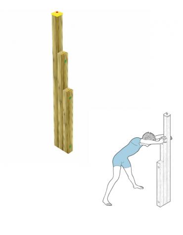 Atrezzatura per esercizi  ginnici con pali in legno lamellare e calotta in plastica - cm 27x10x202h