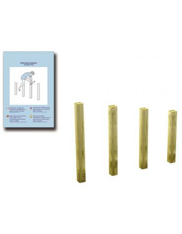Pali per salti in legno lamellare e calotta in plastica - cm 159x9x110h