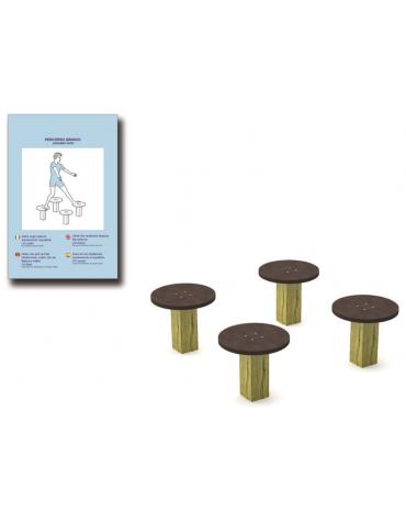 Elementi di equilibrio in legno lamellare e calotta in plastica - cm 90x90x28h