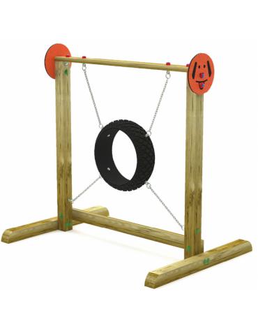Dog Jump in the wheel per cani - pali portanti in pino nordico, ruota in gomma e catene in acciaio - cm 168x120x160h