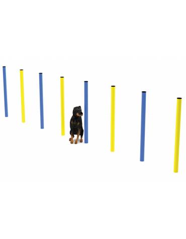 Dog slalom per cani per cani realizzato con tubi da 60x2 zincati e laccati per esterno - cm 426x6x101h