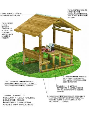 Tavolo pic-nic con copertura, totalmente in legno - cm 276x200x251h