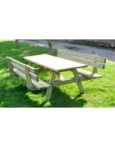 Tavolo pic-nic con schienali, totalmente in legno di pino nordico - cm 190x178x87h
