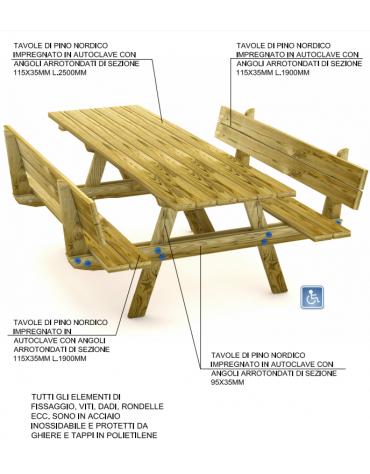 Tavolo Pic-nic per carrozzina con schienale, totalmente in legno di pino nordico - cm 250x178x87h