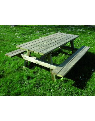 Tavolo pic-nic classico, totalmente in legno di pino nordico - cm 190x150x74h