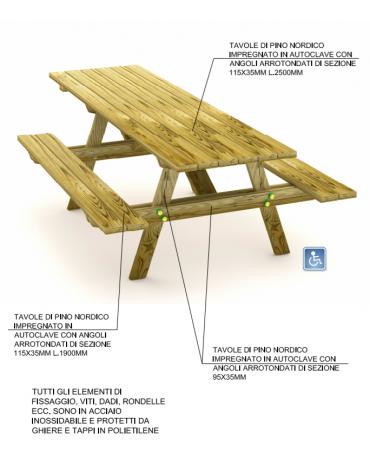 Tavolo pic-nic per carrozzina, totalmente in legno di pino nordico - cm 250x150x74h