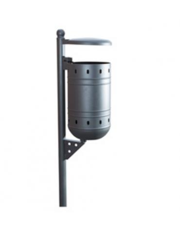 Cestino in acciaio zincato e vernicito con coperchio - capacità: 36 litri - cm 40x37x100h